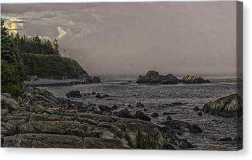 Canvas Print featuring the photograph Late Afternoon Sun On West Quoddy Head Lighthouse by Marty Saccone