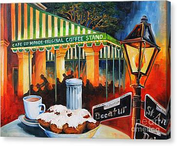 Oil Lamp Canvas Print - Late At Cafe Du Monde by Diane Millsap