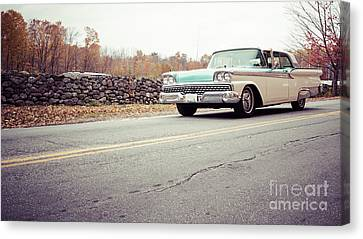 Late Model Vintage Two Tone Car On The Road Canvas Print by Edward Fielding