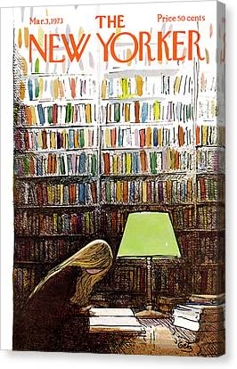 Books Canvas Print - Late Night At The Library by Arthur Getz