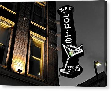 Late Nite At Bar Louie Canvas Print by Frozen in Time Fine Art Photography