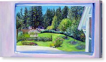Canvas Print featuring the painting Late Spring Yard With Redwoods And Apple Trees by Asha Carolyn Young