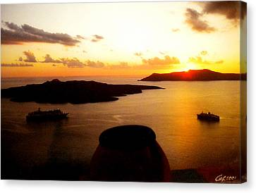 Late Sunset Santorini  Island Greece Canvas Print by Colette V Hera  Guggenheim