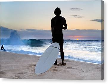 Late Surfer Canvas Print by Sean Davey
