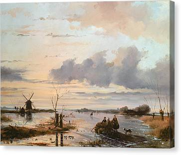 Winter In The Country Canvas Print - Late Winter In Holland by Nicholas Jan Roosenboom