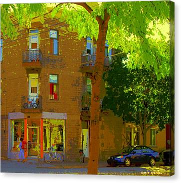 L'atelier Boutique Rue Clark And Fairmount Art Of Montreal Street Scene In Summer By Carole Spandau  Canvas Print by Carole Spandau