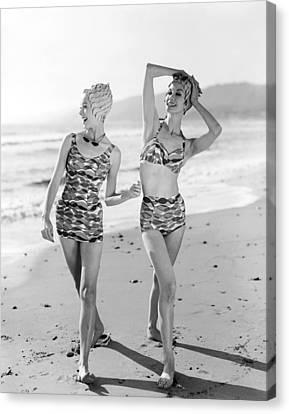 Swim Suit Canvas Print - Latest Bathing Suit Fashion by Underwood Archives