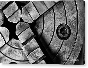 Lathe Chuck Black And White Canvas Print by Wilma  Birdwell
