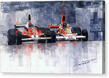 Lauda Vs Hunt Brazilian Gp 1976 Canvas Print by Yuriy Shevchuk