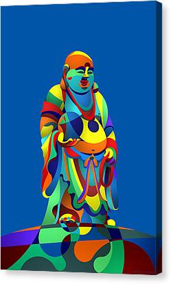 Laughing Buddha Blue Canvas Print