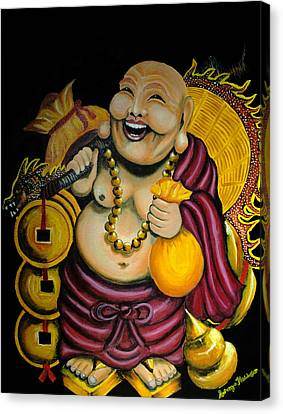 Canvas Print featuring the painting Laughing Buddha For Prosperity by Saranya Haridasan
