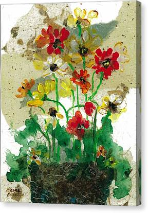 Canvas Print featuring the painting Laughing Poppies by Elaine Elliott