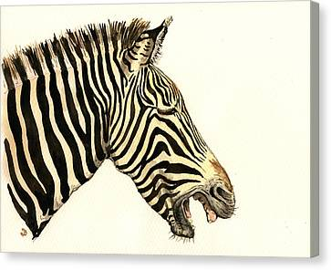 Laughing Zebra Canvas Print by Juan  Bosco