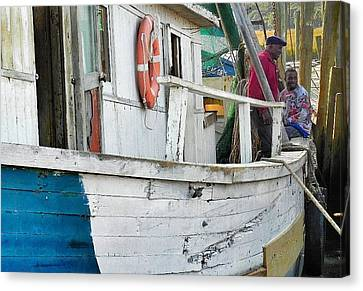 Laughs On A Shrimpboat Canvas Print by Patricia Greer