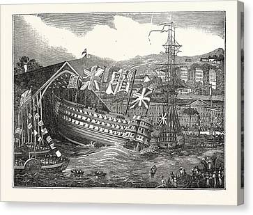Launch Of His Majestys Ship Waterloo, At Chatham,  Uk Canvas Print by English School