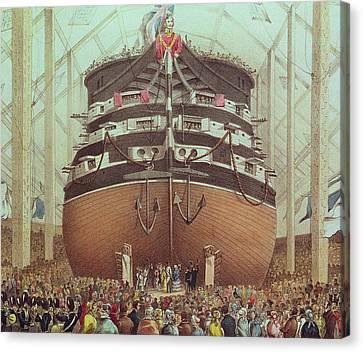Launch Of Hms Royal Albert Canvas Print