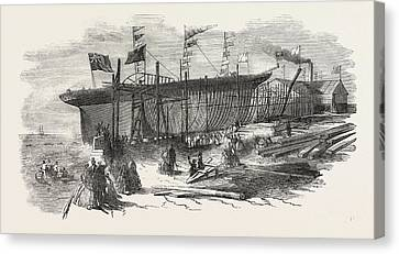 Launch Of The Marion Macintyre, And Part Of The Ship Iron Canvas Print