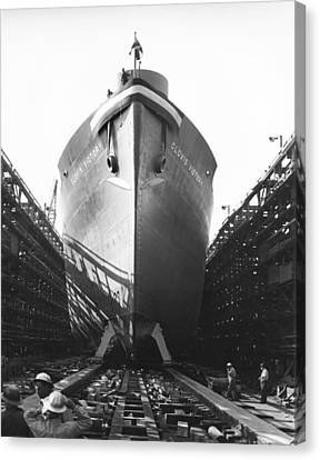 Launching Of Wwii Victory Ship Canvas Print