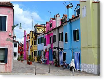 Laundry Day In Burano Venice 3 Canvas Print