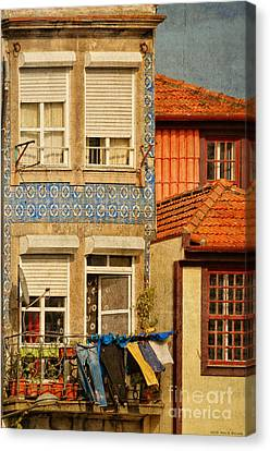 Laundry Day In Porto - Photo Canvas Print by Mary Machare