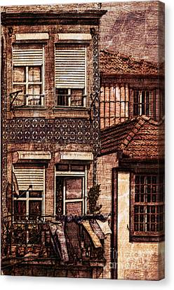 Red Roof Canvas Print - Laundry Day In Porto - Sketch by Mary Machare