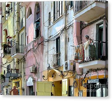 Laundry Day In Procida Canvas Print