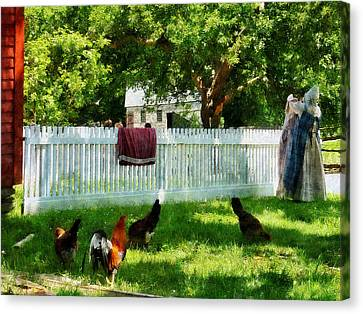 Laundry Canvas Print - Laundry Hanging On Fence by Susan Savad