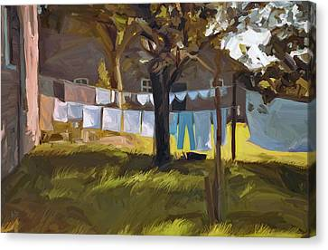 Laundry In The Morning Canvas Print by Nop Briex