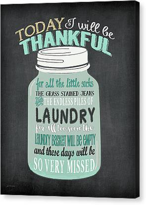 Laundry Canvas Print - Laundry Jar Thankful by Jo Moulton