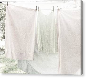 Laundry On The Line In Pink And Green Canvas Print by Brooke T Ryan