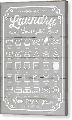 Laundry Canvas Print - Laundry Wash Guide by Jennifer Pugh