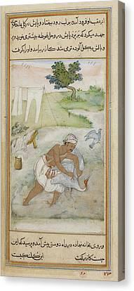 Laundryman And A Crane Canvas Print