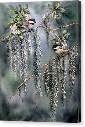 Canvas Print featuring the painting Laurel Meets Moss by Mary McCullah
