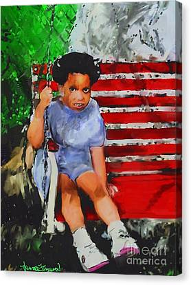 Canvas Print featuring the painting Lauren On The Swing by Vannetta Ferguson