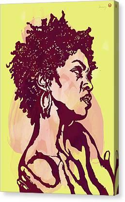Lauryn Hill B W -  Modern Colour Etching Art  Poster Canvas Print by Kim Wang