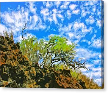 Lava And Keawe At Makena Beach Canvas Print by Dominic Piperata
