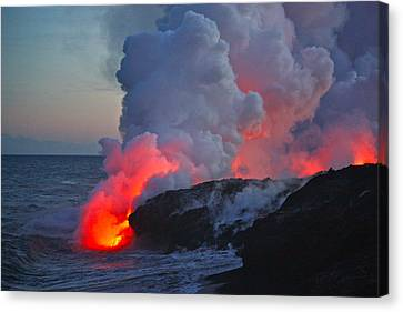 Lava Flow At Sunset In Kalapana Canvas Print by Venetia Featherstone-Witty