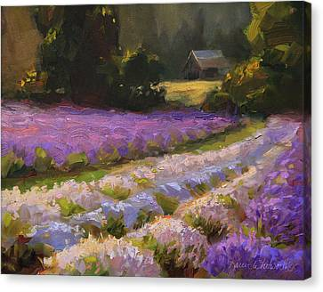 Lavender Farm Landscape Painting - Barn And Field At Sunset Impressionism  Canvas Print