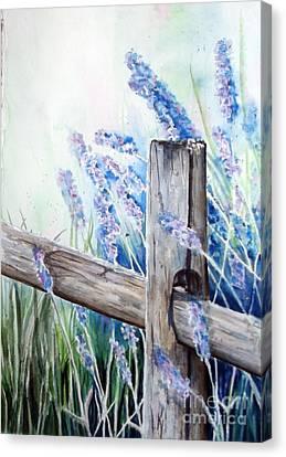 Lavender Fenced Garden  Canvas Print by Kay Lodahl