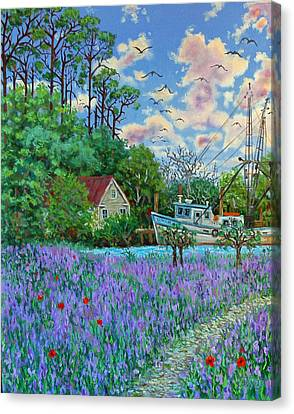 Canvas Print featuring the painting Lavender Field Next To The Creek by Dwain Ray