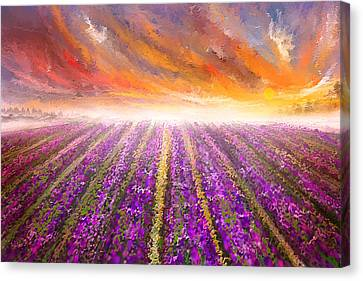 Lavender Field Painting - Impressionist Canvas Print by Lourry Legarde