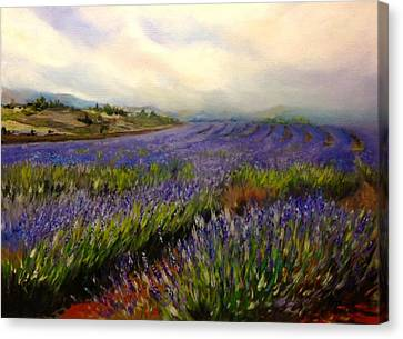 Lavender In Oil Canvas Print by Lori Ippolito
