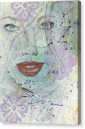 Lavender In Red Lipstick Canvas Print