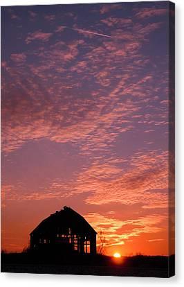 Lavender Sunset Silhouette Canvas Print