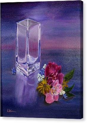 Canvas Print featuring the painting Lavender Vase by LaVonne Hand