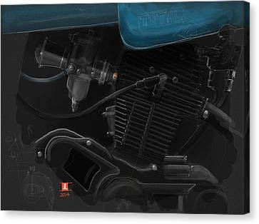 Canvas Print featuring the drawing Laverda Engine Detail by Jeremy Lacy