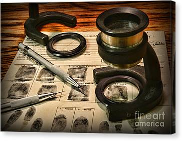 Law Enforcement - Fingerprint Analysis Canvas Print by Paul Ward