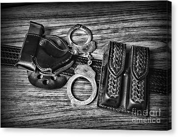 Law Enforcement - Police - Duty Belt In Black And White Canvas Print by Paul Ward