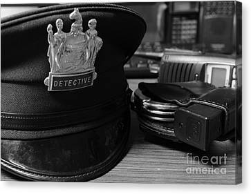 Law Enforcement - The Detective In Black And White Canvas Print by Paul Ward