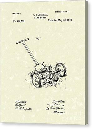 Lawn Mower 1893 Patent Art Canvas Print by Prior Art Design
